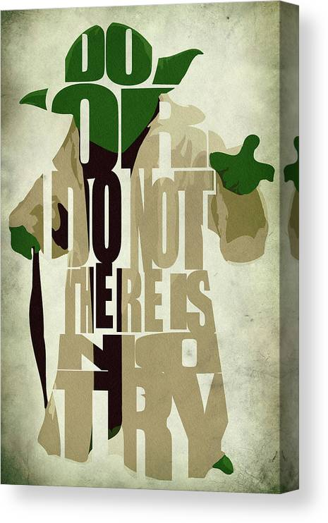 Yoda Canvas Print featuring the digital art Yoda - Star Wars by Inspirowl Design