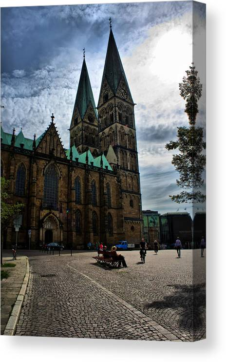 Bremen Canvas Print featuring the photograph Church in Bremen Germany 2 by Edward Myers