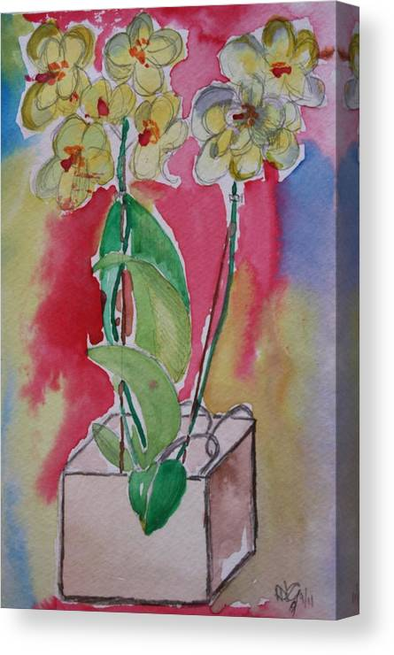 Pencil Canvas Print featuring the painting Orchida by Roger Cummiskey