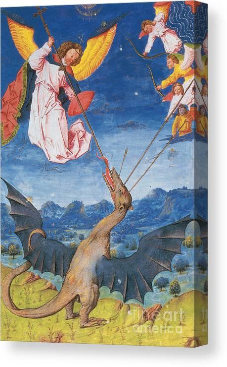 MICHAEL THE ARCHANGEL SLAYING THE DRAGON DEVIL SATAN PAINTING ART CANVAS PRINT