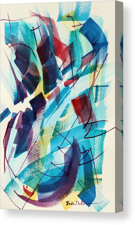 Watercolor Abstract Canvas Print featuring the painting Slice. by Josh Chilton