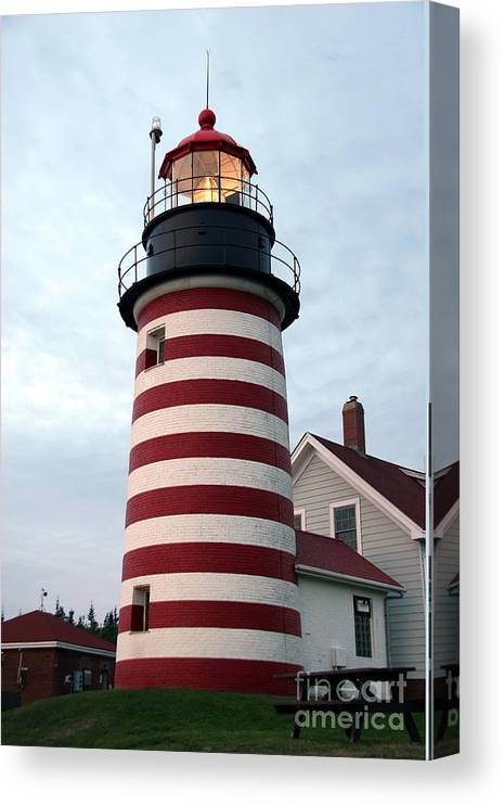 West Quoddy Head Light Canvas Print featuring the photograph West Quoddy Lighthouse by Brenda Giasson