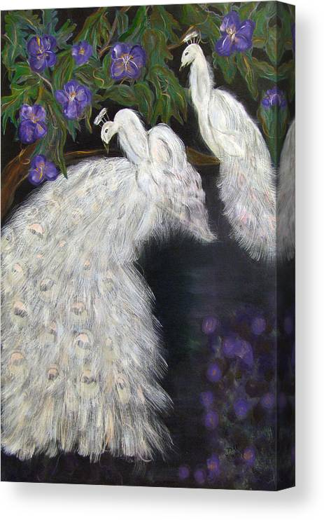 Peacocks Canvas Print featuring the painting Albino Peacocks by Mikki Alhart