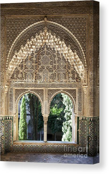 Alhambra Canvas Print featuring the photograph Alhambra windows by Jane Rix