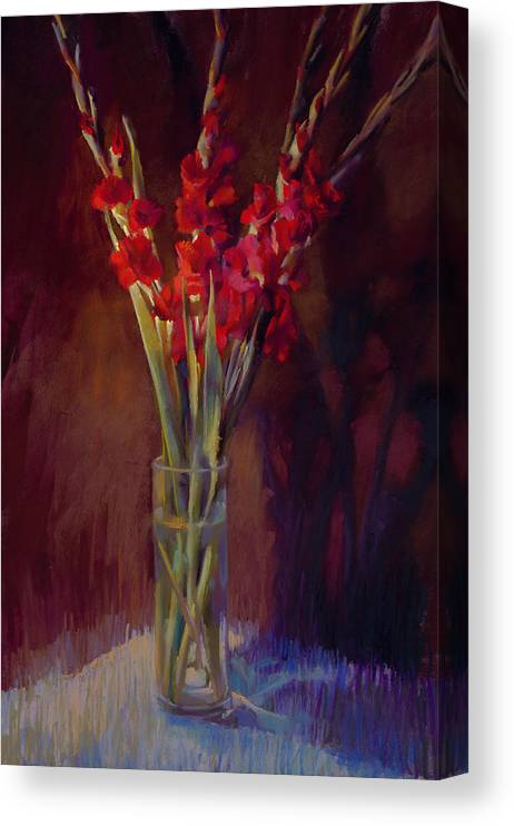 Floral Canvas Print featuring the painting Red Gladiolus by Cathy Locke