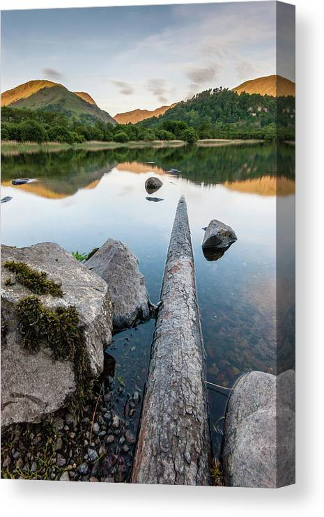 Landscape Canvas Print featuring the photograph Sunrise at Ullswater, Lake District, North West England by Anthony Lawlor
