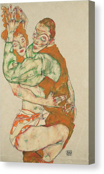 Lovemaking Canvas Print featuring the painting Lovemaking by Egon Schiele