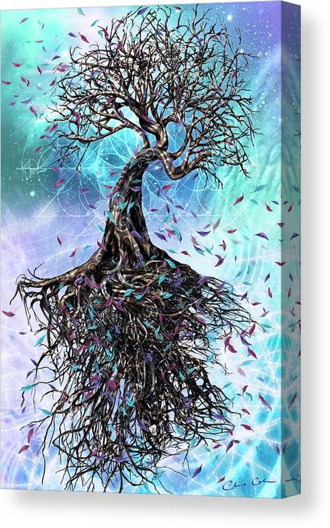 Tree Canvas Print featuring the mixed media At the Root of All Things by Chris Cole