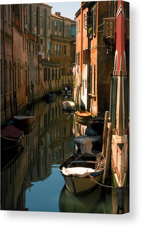 Venice Canvas Print featuring the photograph Back Canal in Venice by Michael Henderson