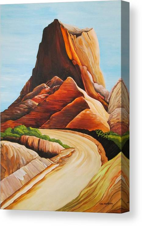 Badlands National Park Canvas Print featuring the painting Badlands National Park by Carol Sabo