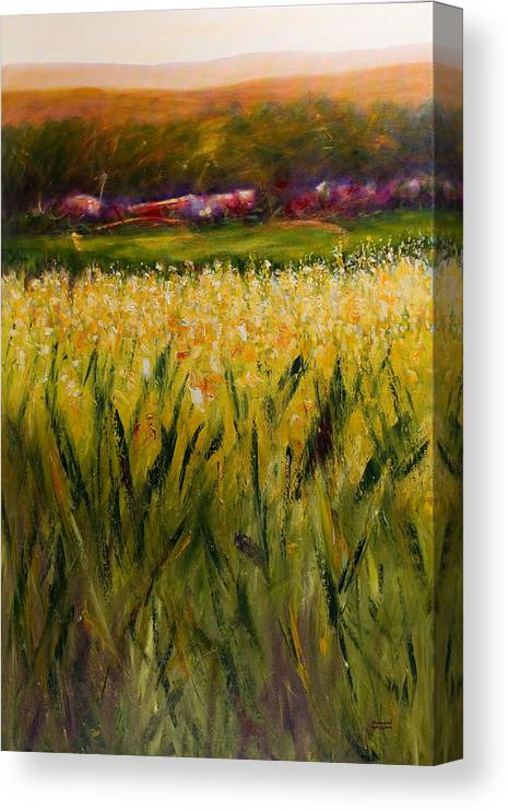 Landscape Canvas Print featuring the painting Beyond The Valley by Shannon Grissom