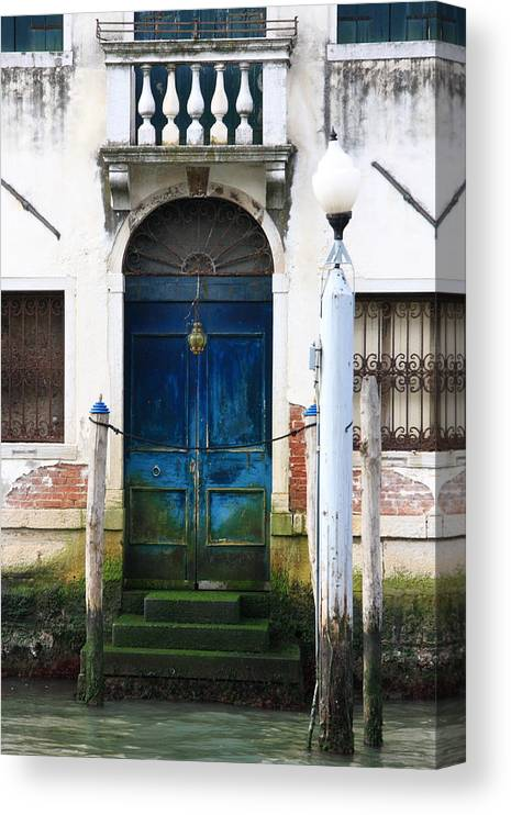 Venice Canvas Print featuring the photograph Blue Door on Grand Canal in Venice by Michael Henderson