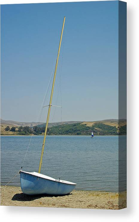 Blue Canvas Print featuring the photograph Blue Sailboat by Suzanne Gaff