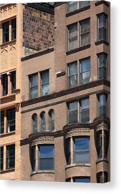 Auburn Canvas Print featuring the photograph Brownstone Buildings in Chi Town by Colleen Cornelius