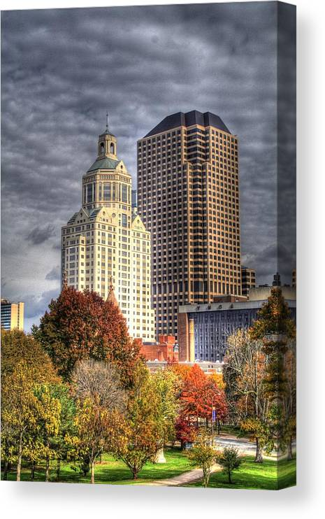 Canvas Print featuring the photograph Bushnell Park Hartford by Sam Turgeon