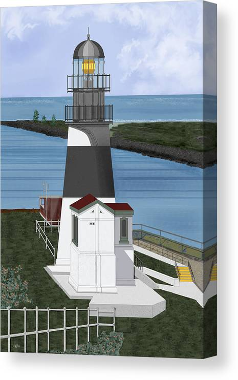 Lighthouse Canvas Print featuring the painting Cape Disappointment at Fort Canby Washington by Anne Norskog