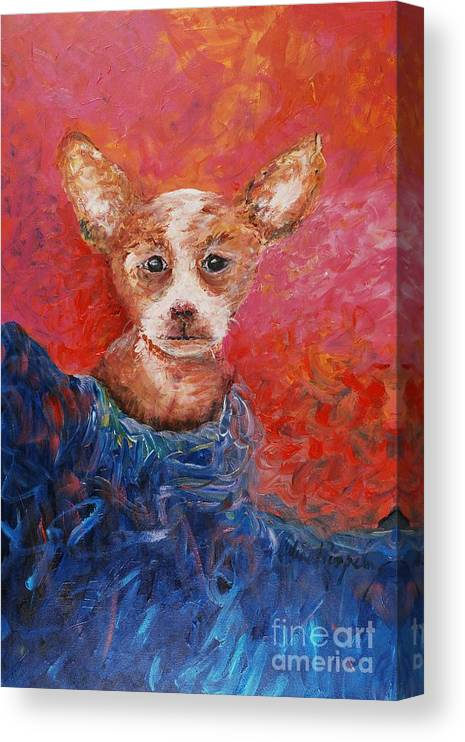 Dog Canvas Print featuring the painting Chihuahua Blues by Nadine Rippelmeyer