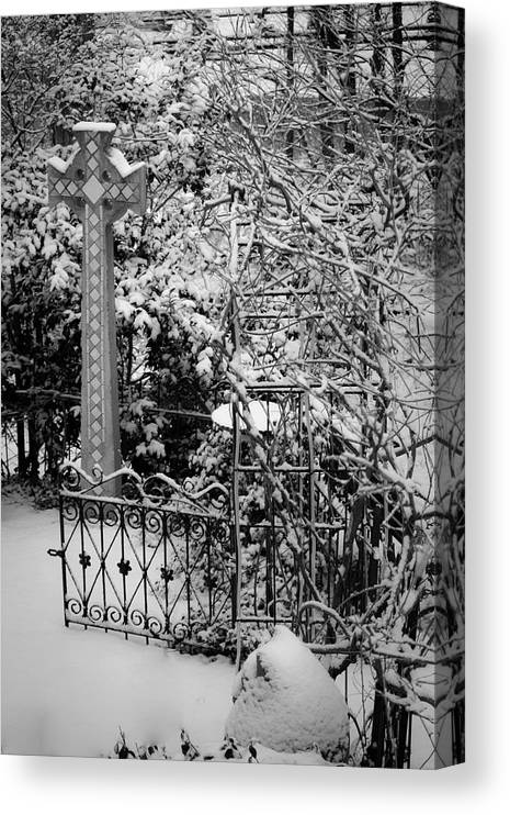 Christmas Canvas Print featuring the photograph Christmas Snow in the Garden by Teresa Mucha
