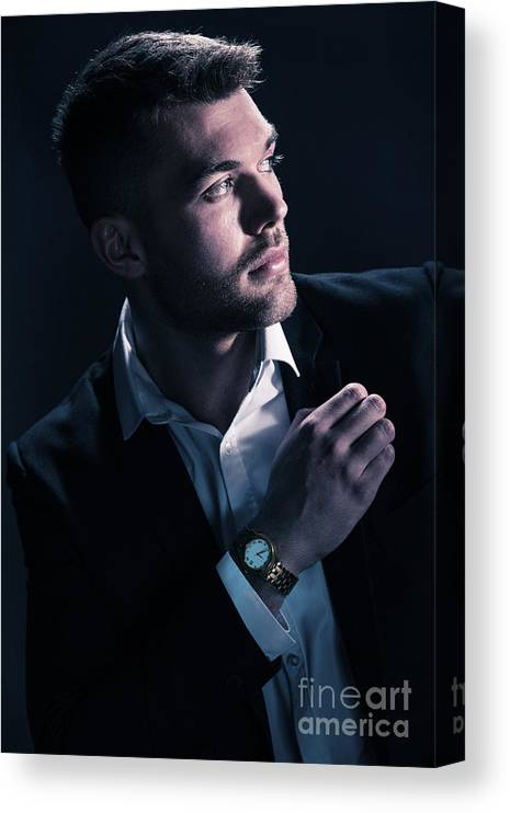Male Canvas Print featuring the photograph Classic Male Model by Amanda Elwell