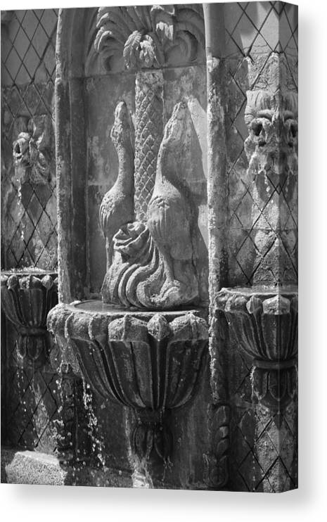 Terracotta Canvas Print featuring the photograph Closeup of Terracotta Water Fountain In Black and White La Quinta Art District by Colleen Cornelius