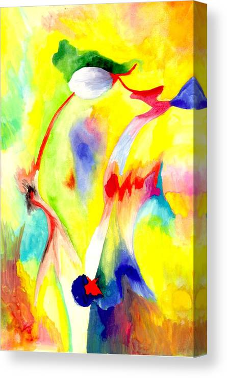Watercolor Canvas Print featuring the painting Creating by Peter Shor