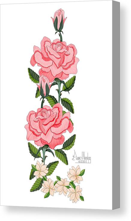 Roses Canvas Print featuring the painting Dancing by Anne Norskog