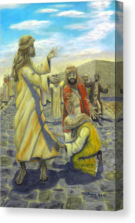 Christ Canvas Print featuring the painting Daughter your faith has Healed you by Dan Bozich