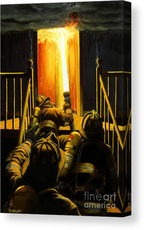 Firefighting Canvas Print featuring the painting Devil's Stairway by Paul Walsh