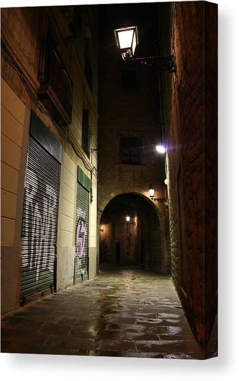Barcelona Canvas Print featuring the photograph Down The Path by Jason Hochman