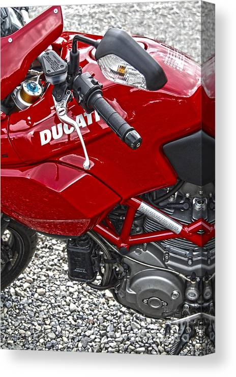Diane Berry Canvas Print featuring the photograph Ducati Red by Diane E Berry