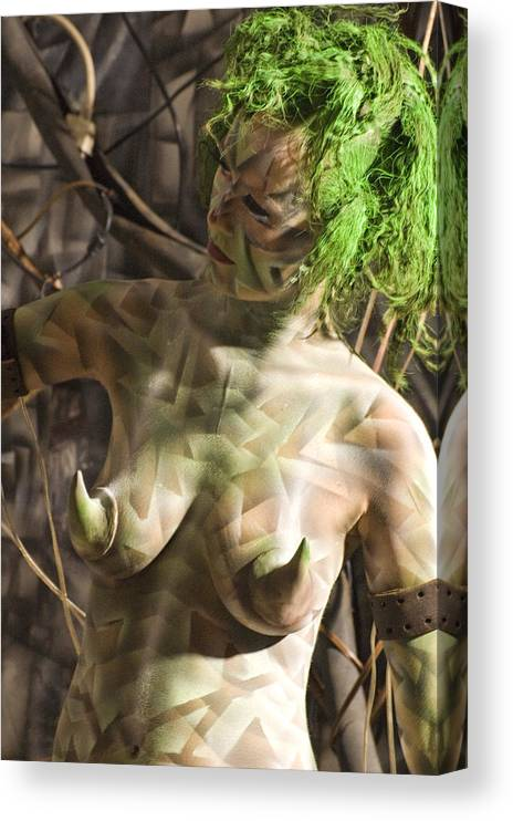 Body Paint Canvas Print featuring the painting Ellenor Robot by Leigh Odom
