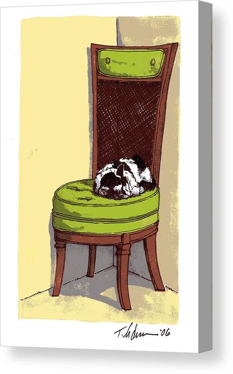 Cat Canvas Print featuring the drawing Ernie and Green Chair by Tobey Anderson