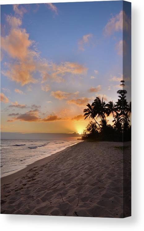 Ewa Beach State Park Palm Tree Sunset Oahu Hawaii Hi Canvas Print featuring the photograph Ewa Beach Sunset 2 - Oahu Hawaii by Brian Harig