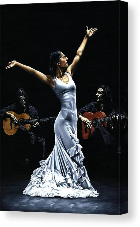 Flamenco Canvas Print featuring the painting Finale del Funcionamiento del Flamenco by Richard Young
