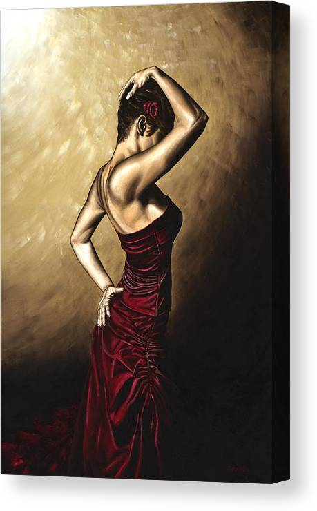 Flamenco Canvas Print featuring the painting Flamenco Woman by Richard Young