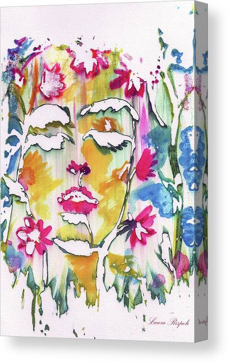 Flower Canvas Print featuring the painting Flower Face by Laura Rispoli