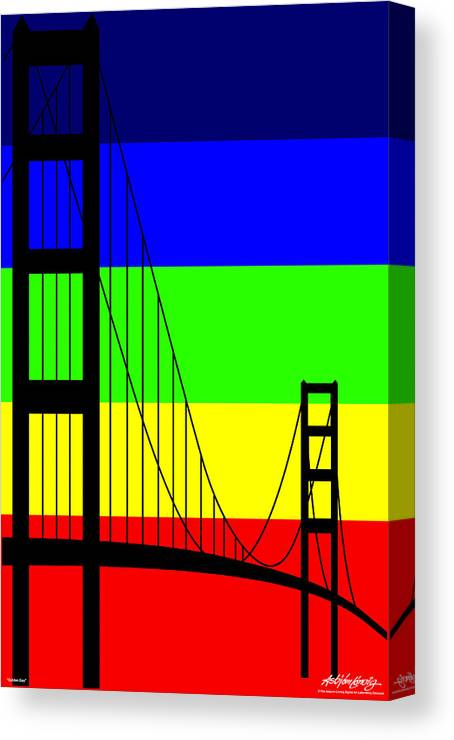 Golden Gate Canvas Print featuring the digital art Golden Gay by Asbjorn Lonvig