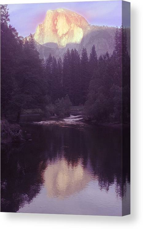Halfdome Canvas Print featuring the photograph Halfdome over the Merced by Richard Henne