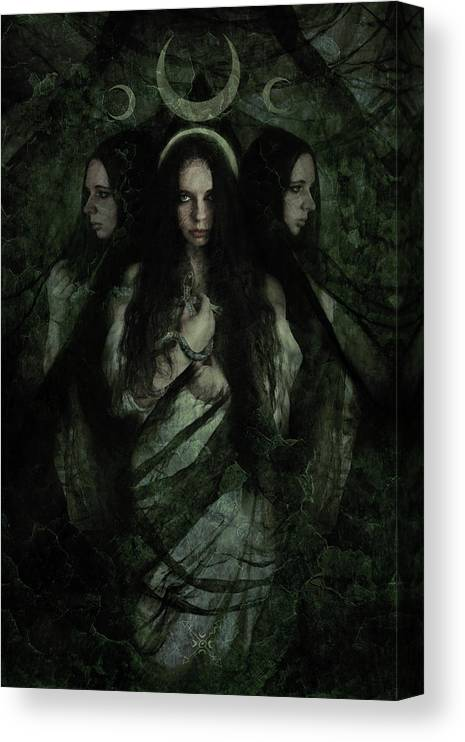 Hekate Canvas Print featuring the mixed media Hekate by Cambion Art