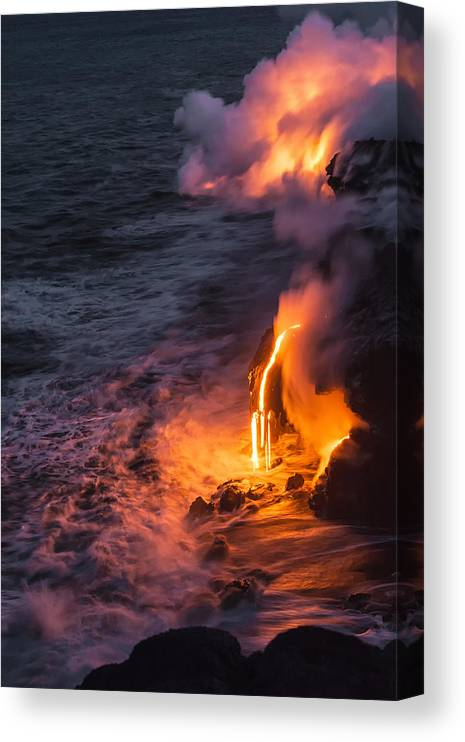 Kilauea Volcano Kalapana Lava Flow Sea Entry The Big Island Hawaii Hi Canvas Print featuring the photograph Kilauea Volcano Lava Flow Sea Entry 6 - The Big Island Hawaii by Brian Harig