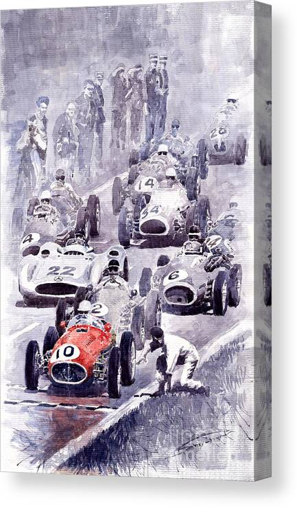 Auto Canvas Print featuring the painting Last Control Maserati 250 F France GP 1954 by Yuriy Shevchuk