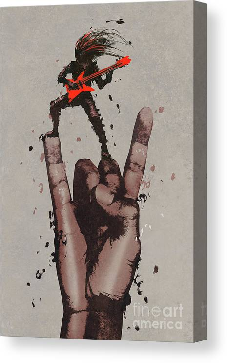 Illustration Canvas Print featuring the painting Let's Rock by Tithi Luadthong