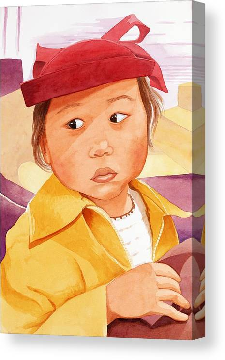 Little Japanese Girl In Red Hat Canvas Print featuring the painting Little Girl in Red Hat by Judy Swerlick