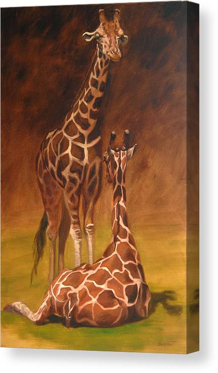 Oil Canvas Print featuring the painting Looking Out For Each Other by Greg Neal