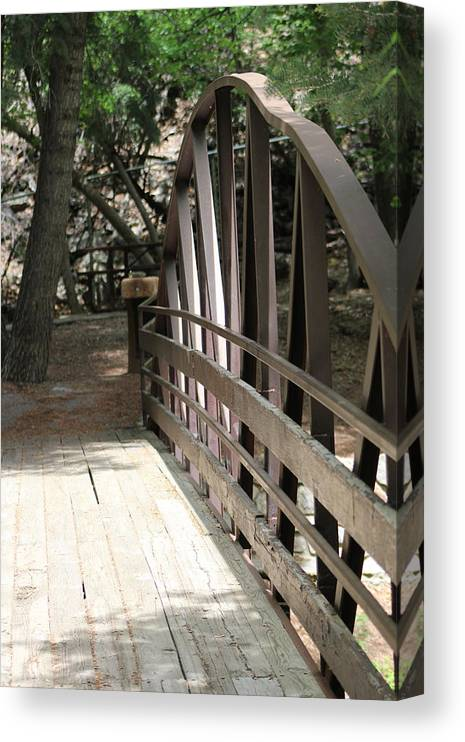 Mocha Cappuccino Canvas Print featuring the photograph Mocha Colored Walking Bridge in American Fork Canyon Utah by Colleen Cornelius