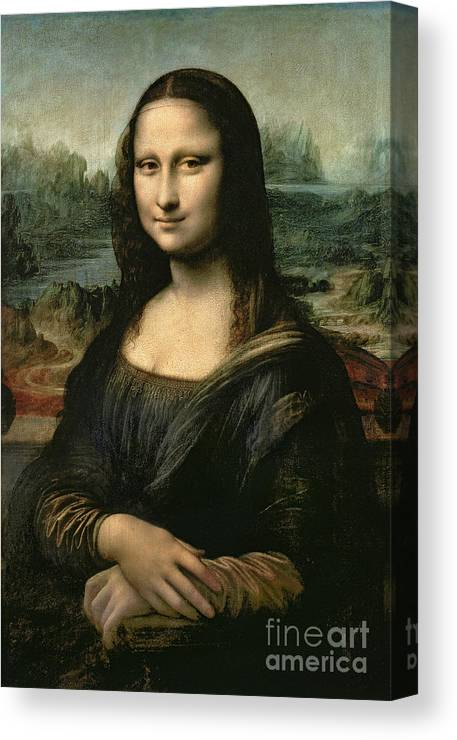 Mona Canvas Print featuring the painting Mona Lisa by Leonardo da Vinci