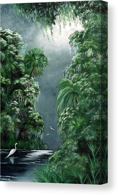 Swamp Canvas Print featuring the painting Moonlight Swamp by Darlene Green