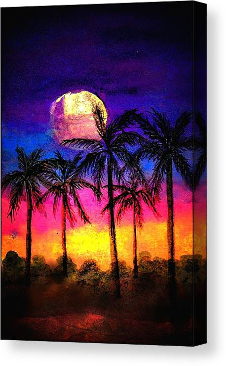Silhouette Canvas Print featuring the painting Moonrise Over the Tropics by Dina Sierra