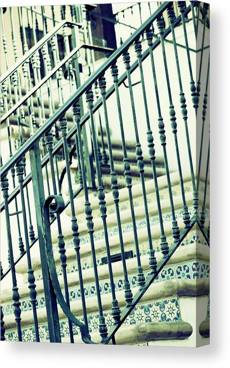 Mint Canvas Print featuring the photograph Mosaic and Iron Staircase La Quinta California Art District in Mint Tones Photograph by Colleen by Colleen Cornelius