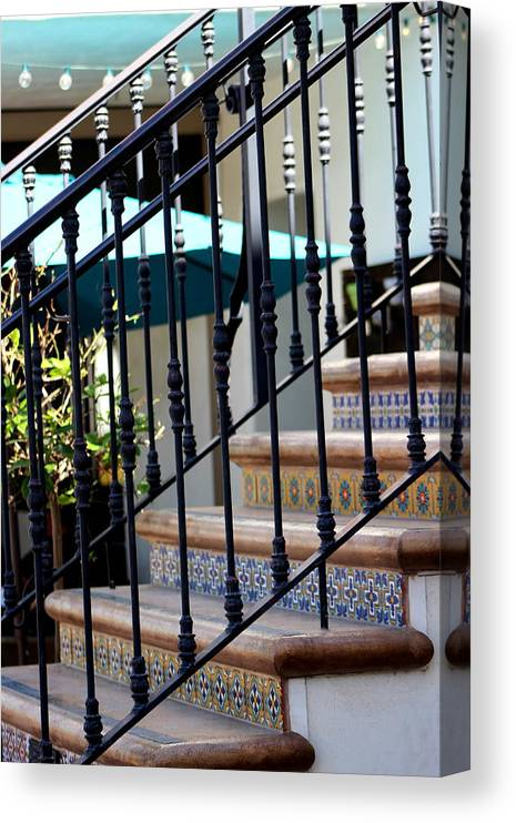 Mosaic Staircase Canvas Print featuring the photograph Mosaic Tile Staircase In La Quinta California Art District by Colleen Cornelius